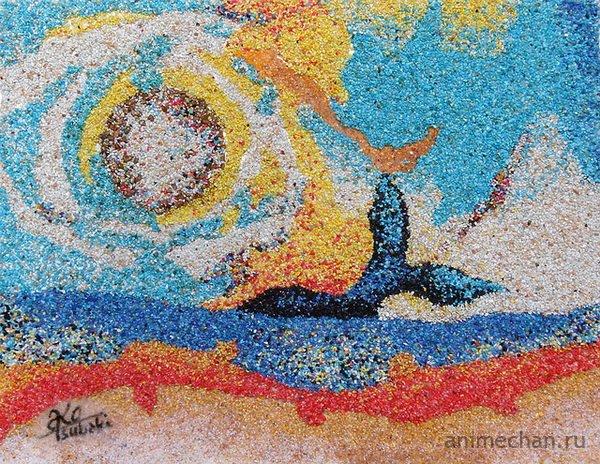 Картины из песка в исполнении Ako Tsubaki