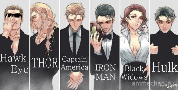 Мстители в почти классической аниме-рисовке