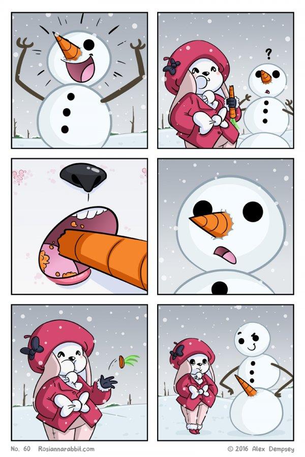 А снеговик-то не промах!