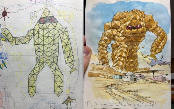 Художник Thomas Romain перерисовывает рисунки своих детей
