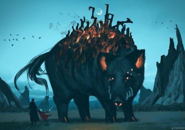 Японский художник предположил, как бы выглядел мир людей, соседствующих с большими животными