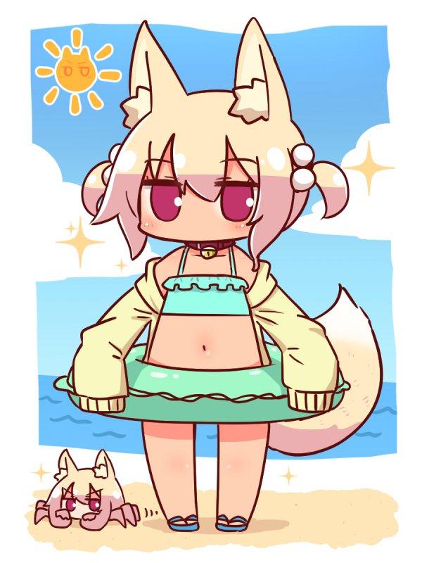 Кемомими-чан на пляже