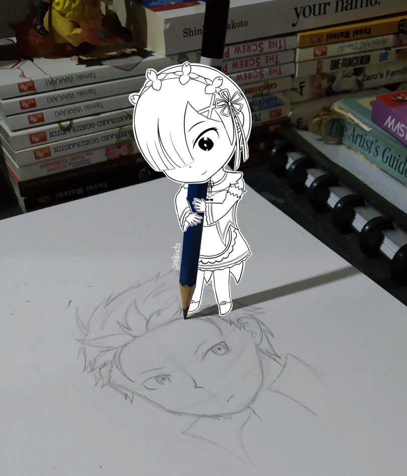 Рем рисует Субару