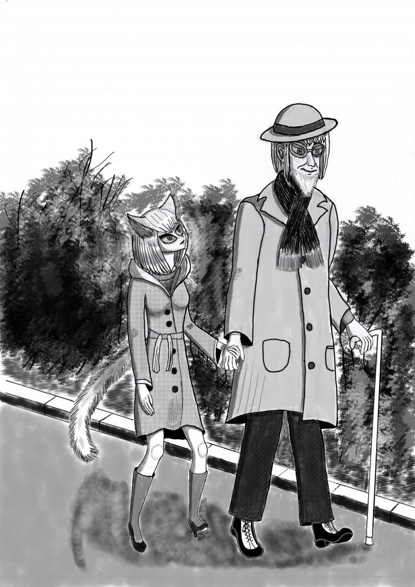 Прогулка старика с кошкой