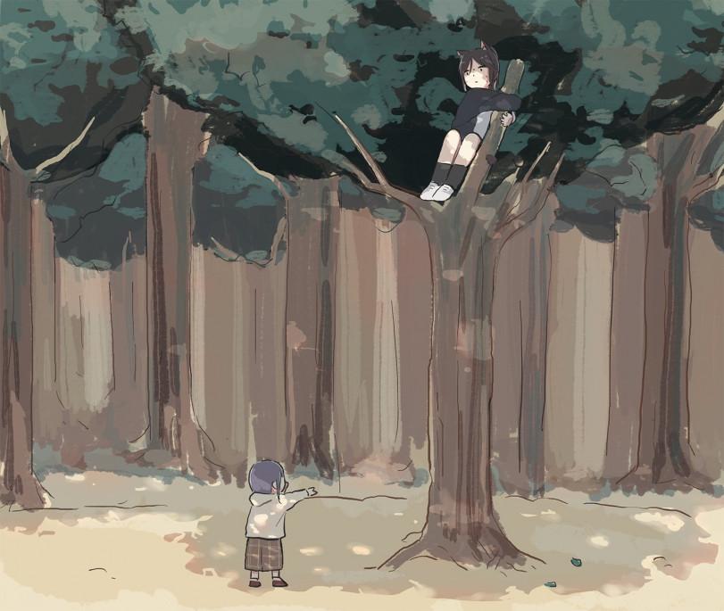Вышла с кошкой погулять. Теперь с дерева снимать...