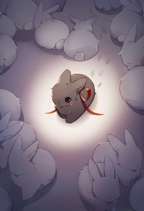 Маленький одинокий кролик
