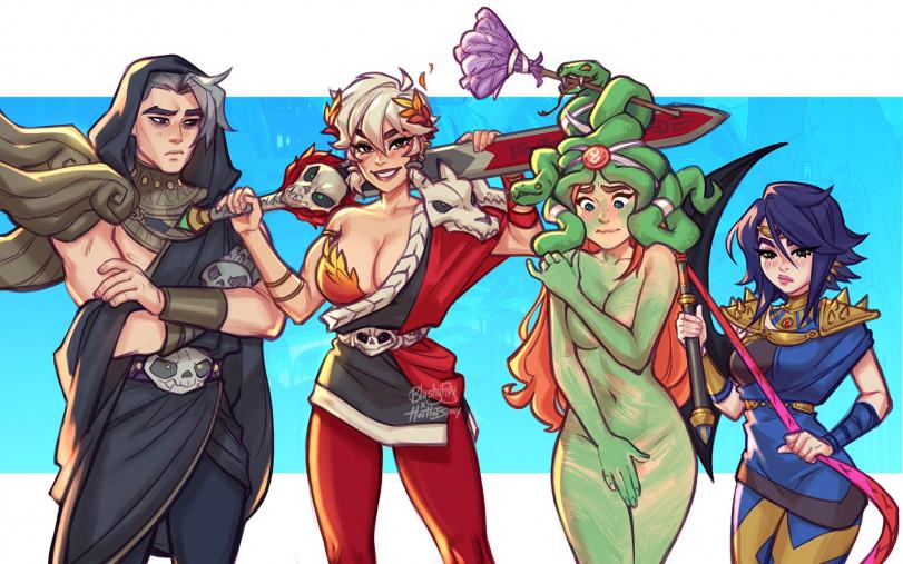 Персонажи Highroad Travelers одетые в одежду персонажей Hades