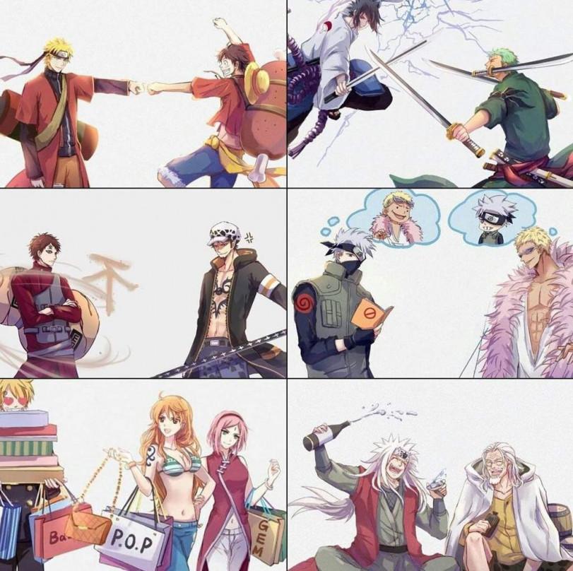 Собрались как-то герои Наруто и One Piece вместе...