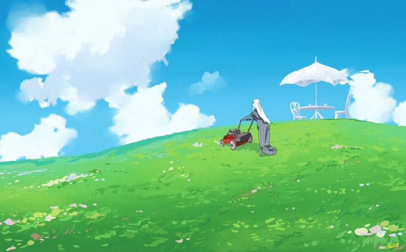 Стрижка газона перед очередным чаепитием